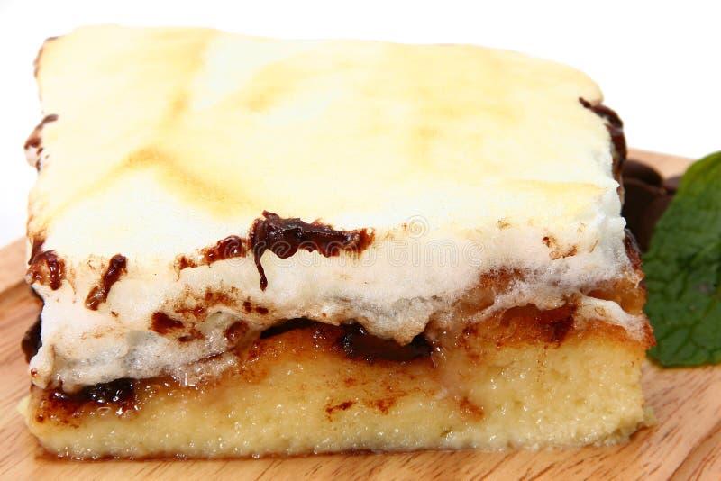 czekoladowy pudding chlebowy merengue fotografia stock
