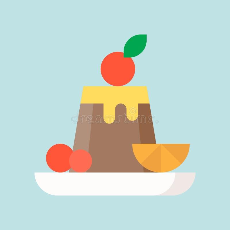 Czekoladowy pudding z owoc, cukierkami i ciasto setem, płaski desig ilustracji