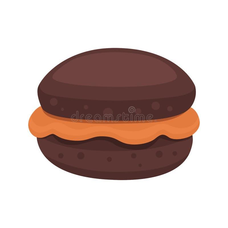 Czekoladowy słodka bułeczka piekarni amerykański produkt Słodka babeczka wektoru ilustracja royalty ilustracja