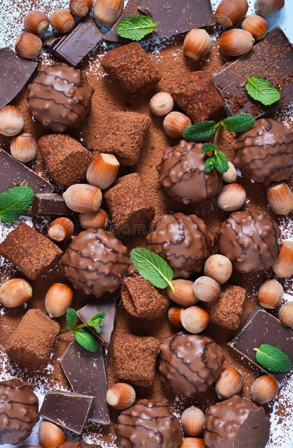 Czekoladowy shonfet z praline, trufle, czekolada, kakao zdjęcie stock