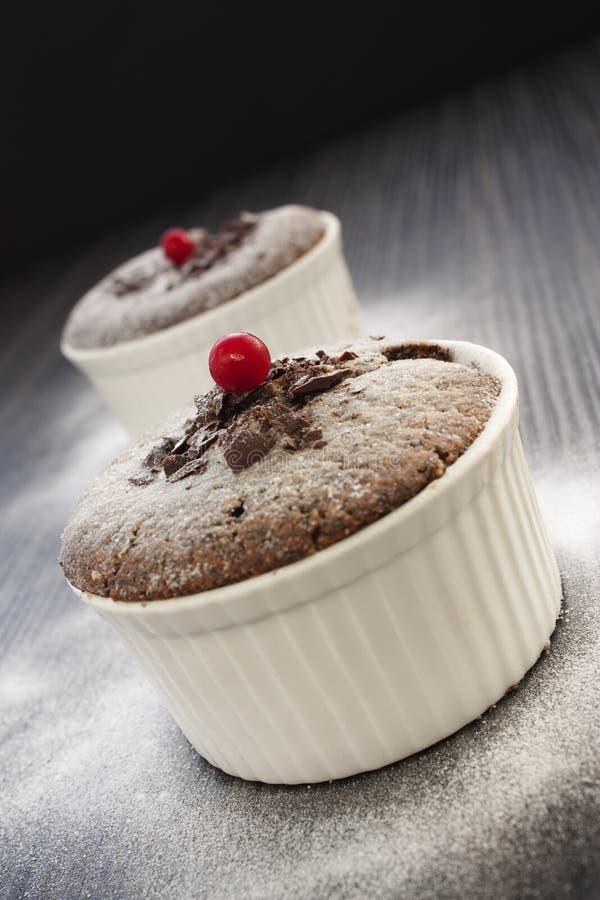 czekoladowy souffle obrazy stock