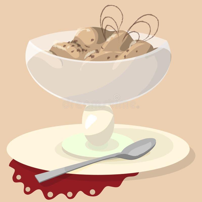 Czekoladowy sundae na białym tle Lody filiżanki wektoru ilustracja ilustracja wektor