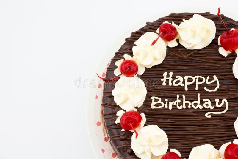 Czekoladowy tort, Czekoladowego Fudge tort z wszystkiego najlepszego z okazji urodzin wiadomością zdjęcie stock