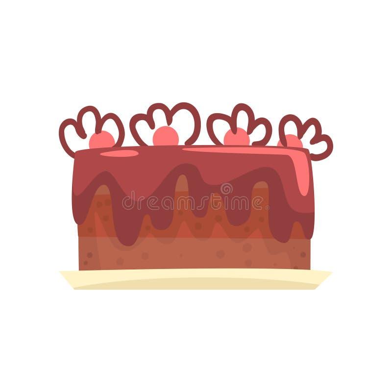 Czekoladowy tort dla przyjęcia urodzinowego, słodka deserowa kreskówka wektoru ilustracja ilustracji