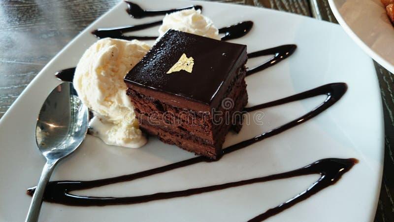 Czekoladowy tort i lody zdjęcie royalty free
