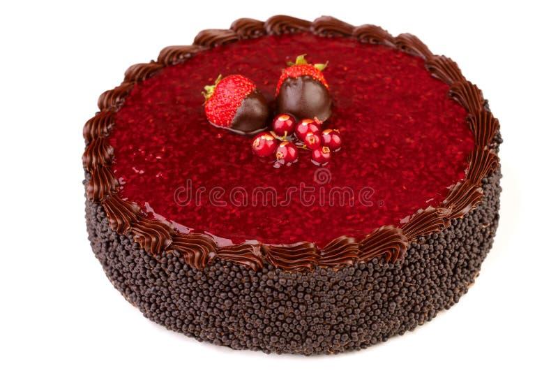 Czekoladowy tort, odosobniony fotografia royalty free