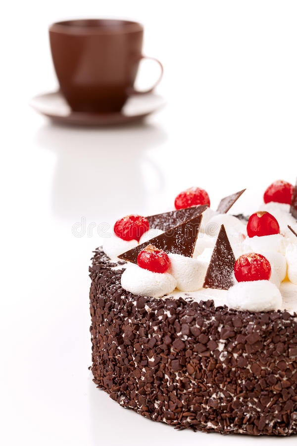 Czekoladowy tort, odosobniony obrazy royalty free
