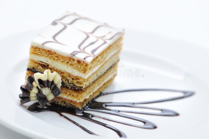 Czekoladowy tort z czekoladą pijaczy na bielu talerzu, słodki deser, patisserie, sklep, kakaowy proszek obraz royalty free