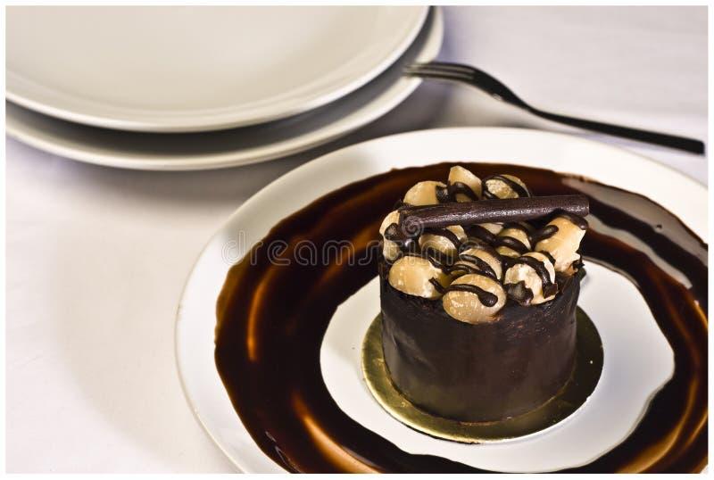 Czekoladowy tort z Macadamia zdjęcie stock
