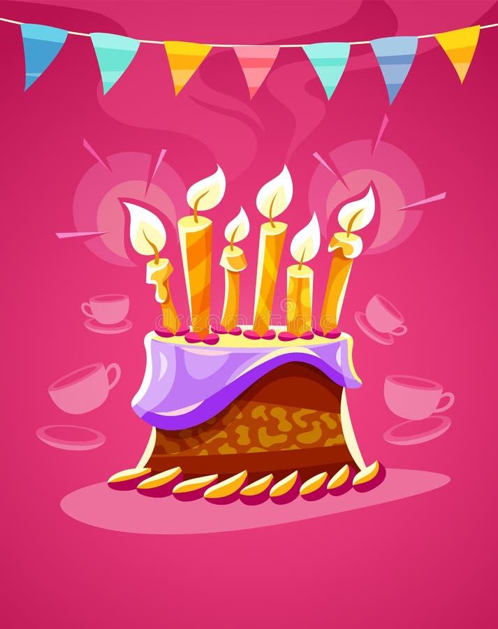 Czekoladowy urodzinowy tort z kremowymi płonącymi świeczkami royalty ilustracja