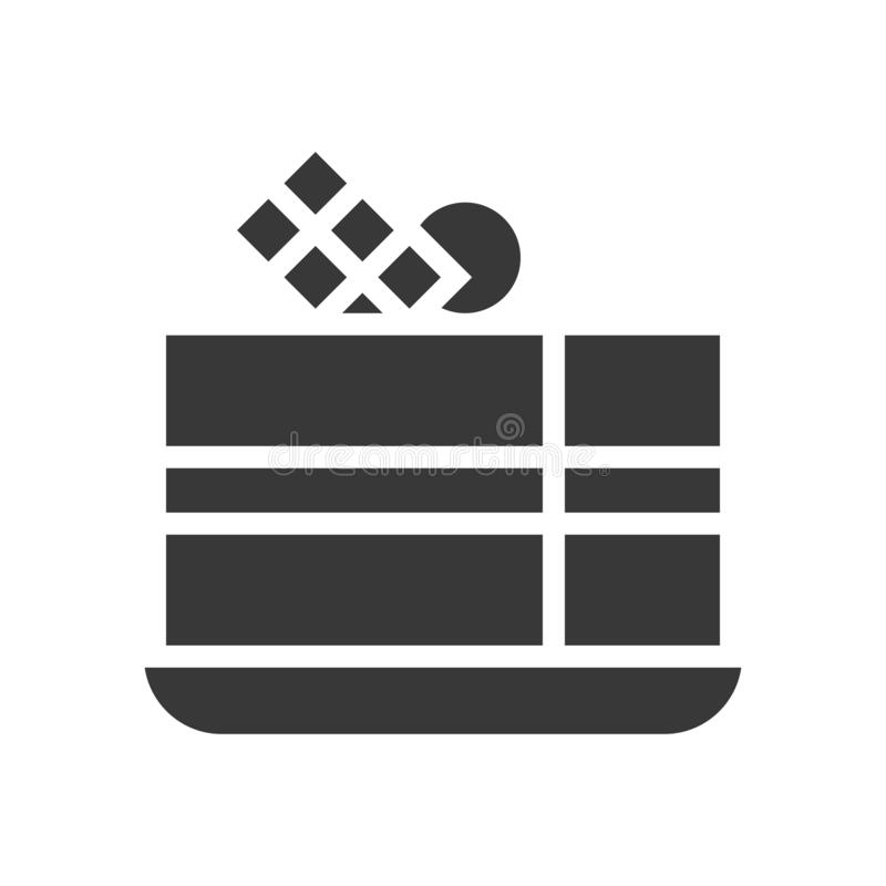 Czekoladowy warstwa tort, piekarnia i ciasto set, glif ikona ilustracja wektor