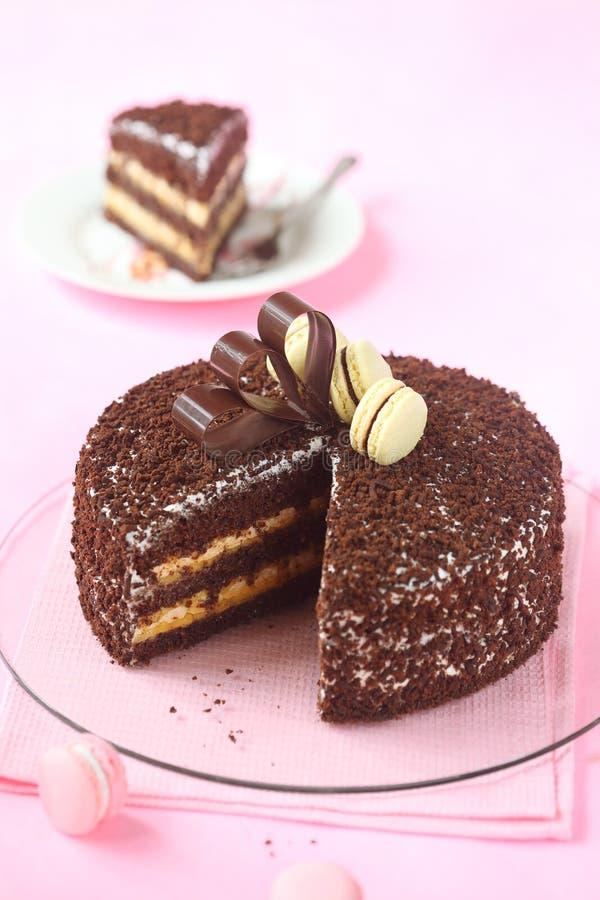 Czekoladowy warstwa tort z bezą i Passionfruit Curd obrazy royalty free