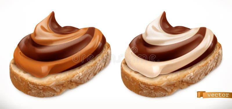 Czekoladowy zawijasa duet rozprzestrzeniający na chlebie 3d wektorowa realistyczna ikona ilustracji