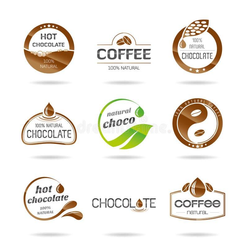 Czekolady, coffe i karmelu ikony projekt, - majcher. ilustracja wektor
