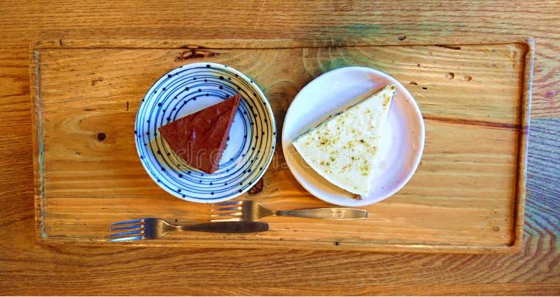 Czekolady i sera torty Topview obrazy stock