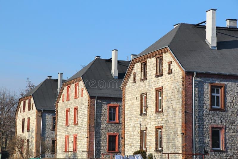 Czeladz, Poland. Apartment buildings in Piaski district. Traditional Silesian architecture called familok royalty free stock photo