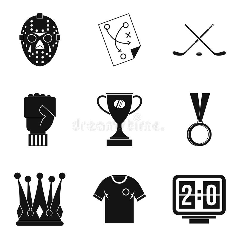Czempion ikony ustawiać, prosty styl ilustracja wektor