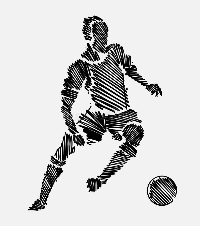Czerń gryzmolący rysunek niesie piłkę gracz futbolu mężczyzna zdjęcie stock