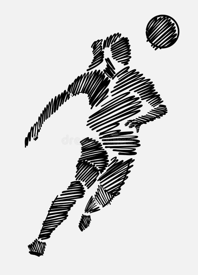 Czerń nabazgrany rysunek żeński gracz piłki nożnej fotografia royalty free