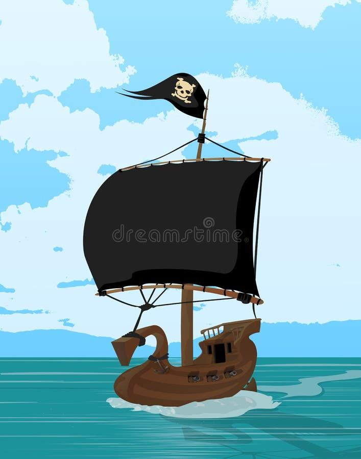 Czerń żegluje pirata statek ilustracji