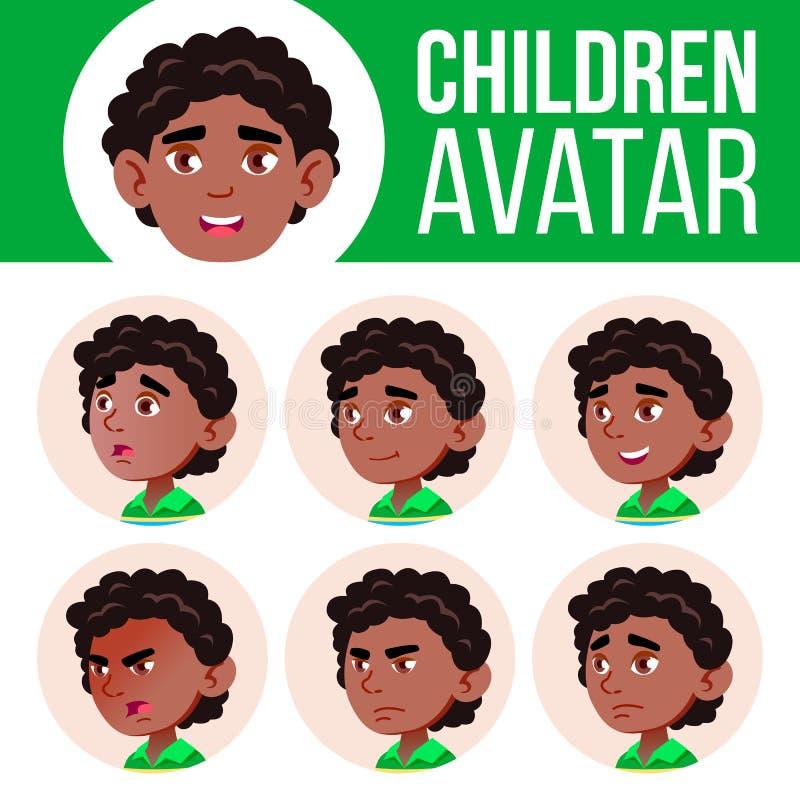 Czerń, Afro chłopiec Amerykańskiego Avatar dzieciaka Ustalony wektor dzieciniec Stawia czoło Emocje Szczęśliwy dzieciństwo, Pozyt ilustracja wektor
