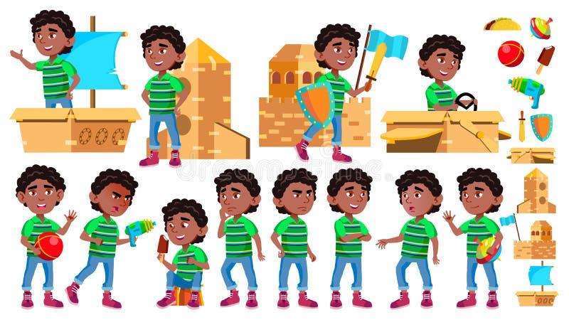 Czerń, Afro chłopiec dziecina dzieciaka Amerykańskie pozy Ustawiający wektor Małe dziecko Karton zabawka śmieszny lifestyle dla royalty ilustracja