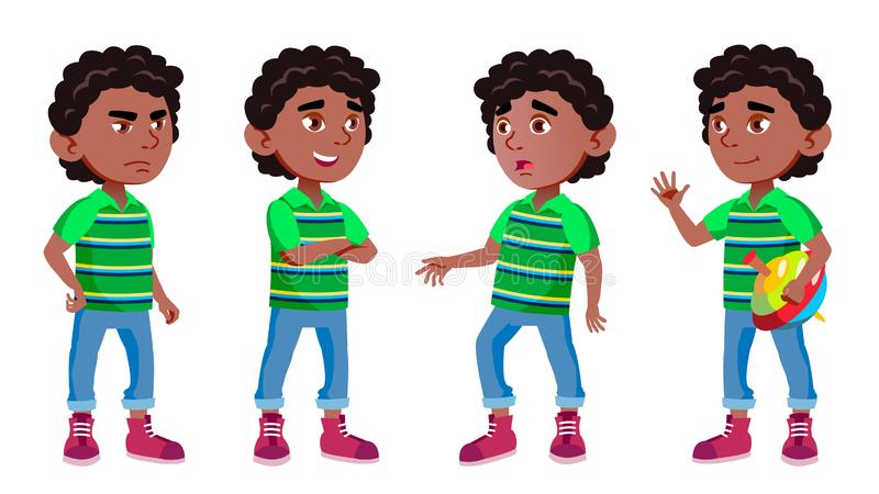 Czerń, Afro chłopiec dziecina dzieciaka Amerykańskie pozy Ustawiający wektor Preschool, dzieciństwo przyjaciel Dla pokrywy, plaka ilustracja wektor
