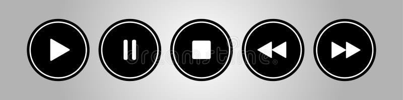 Czerń, biali round muzyki kontrola guziki ustawiający ilustracja wektor