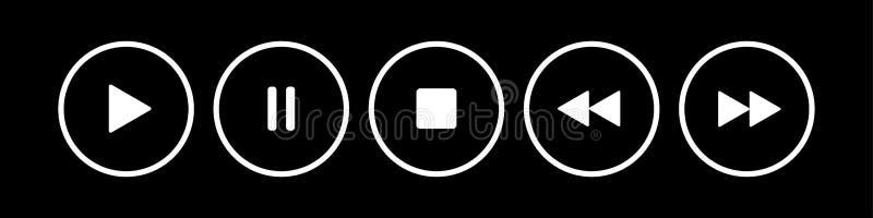 Czerń, biali round muzyki kontrola guziki ustawiający royalty ilustracja
