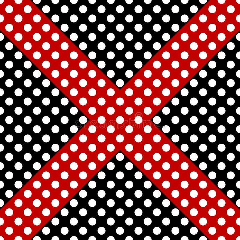 Czerń, biel i czerwony bezszwowy polki kropki wzór, krzyż plus znak lub Wektorowa nowo?ytnego projekta ilustracja royalty ilustracja