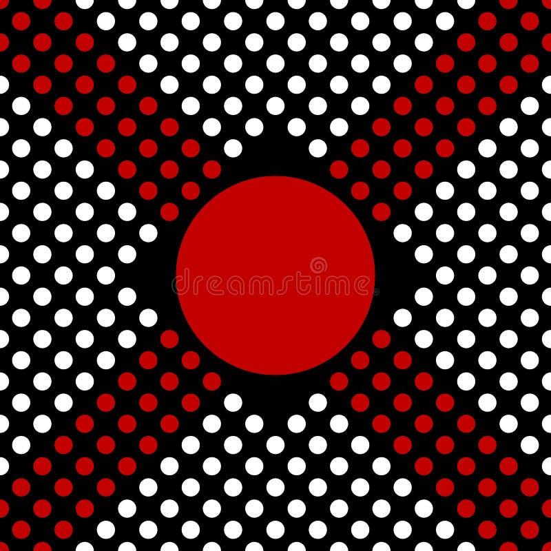 Czerń, biel i czerwony bezszwowy polki kropki wzór, krzyż plus znak lub Wektorowa nowo?ytnego projekta ilustracja ilustracji
