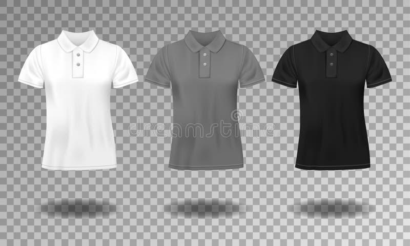 Czerń, biel i szara realistyczna szczupła męska polo koszulka, projektujemy szablon Set krótkie rękaw koszulki dla sporta, mężczy royalty ilustracja