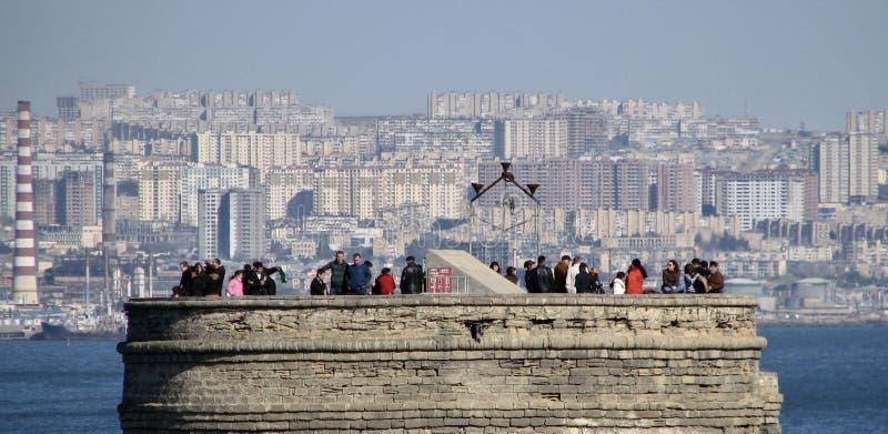 Czerń & biel słynny Dziewiczy ` s wierza w Baku, Azerbejdżan, Baku - zdjęcie stock