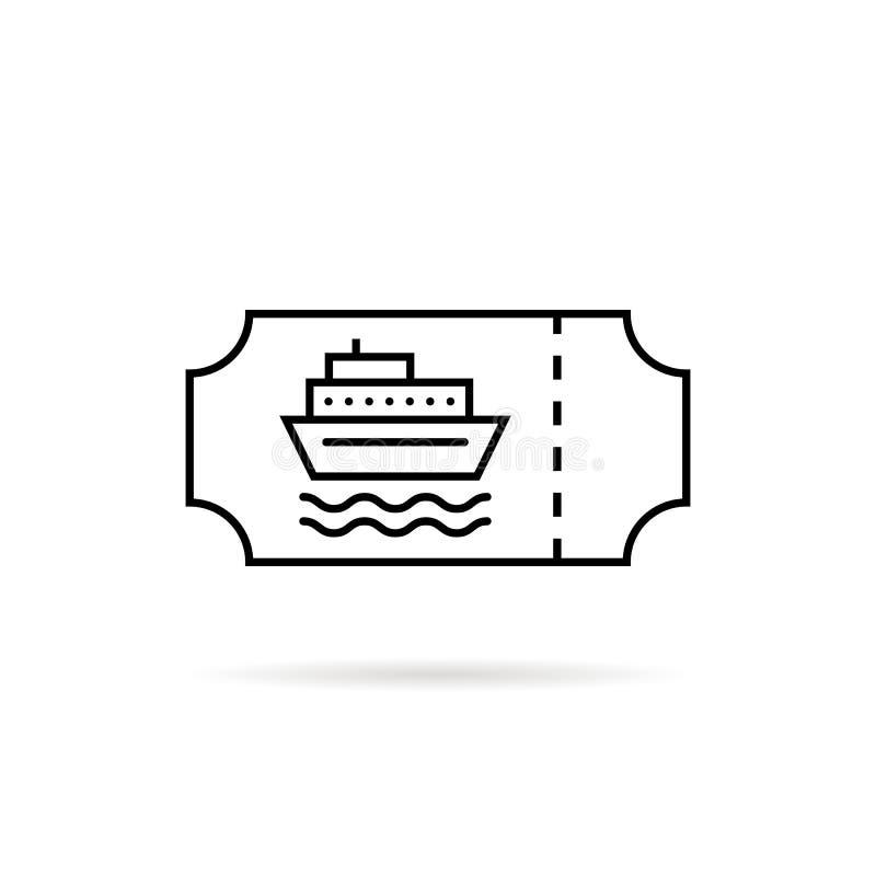 Czerń cienki kreskowy morski bilet dla łodzi royalty ilustracja