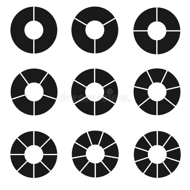 Czerń członujący okręgu set ilustracja wektor