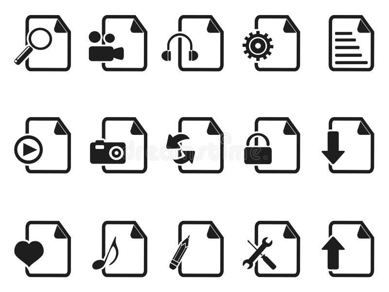 Czerń dokumentów i kartotek ikony ustawiać ilustracji