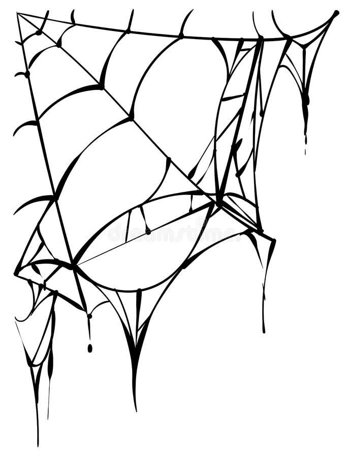 Czerń drzejąca pająk sieć na białym tle ilustracji