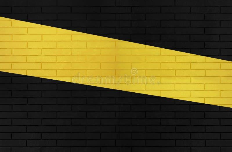 Czerń i żółta kolor ściany z cegieł tekstura dla graficznych tło wizerunków obrazy royalty free