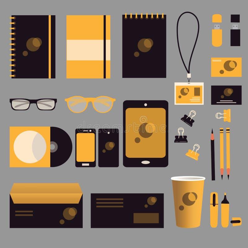 Czerń i żółty korporacyjny indentity projekt Mockup ilustracja wektor