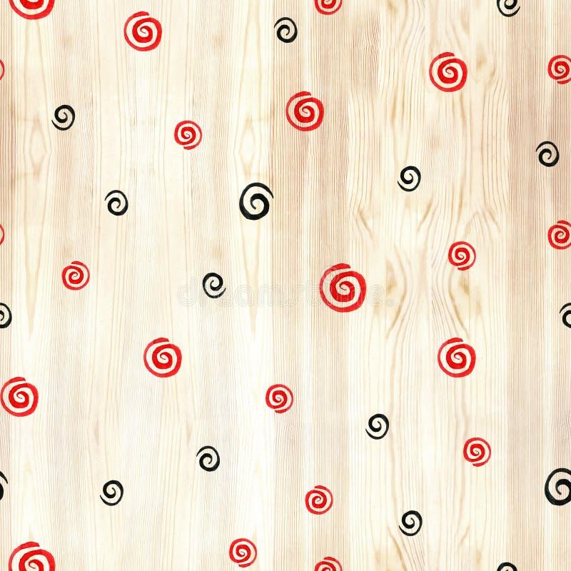 Czerń i czerwień ruszać się po spirali na drewnianej tekstury bezszwowym wzorze Czerni i czerwonej linii okręgi na białym tle Geo obraz royalty free
