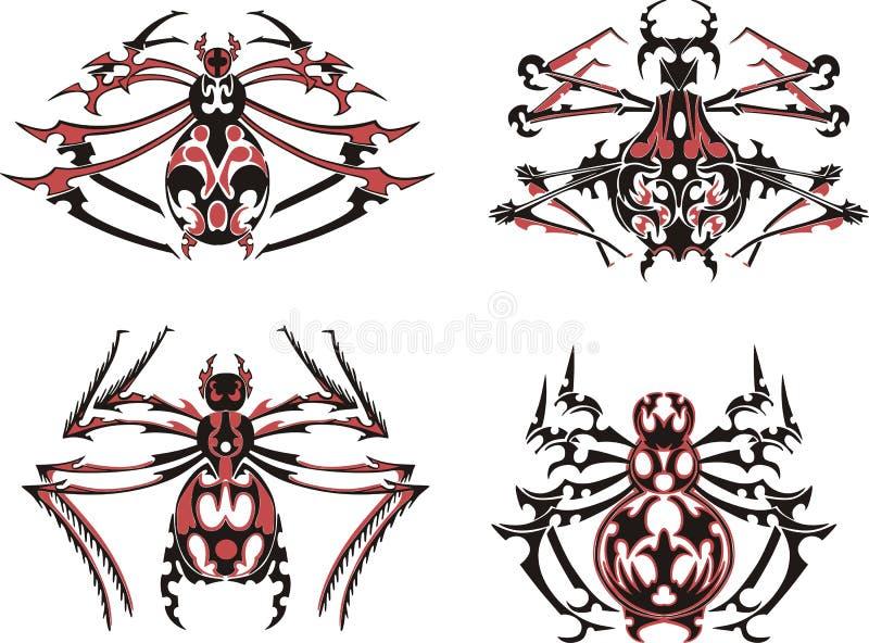 Czerń i czerwoni symmetric pająków tatuaże royalty ilustracja