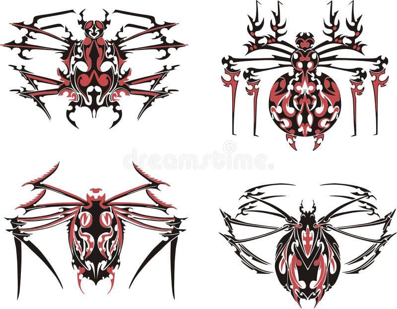 Czerń i czerwoni symmetric pająków tatuaże ilustracja wektor