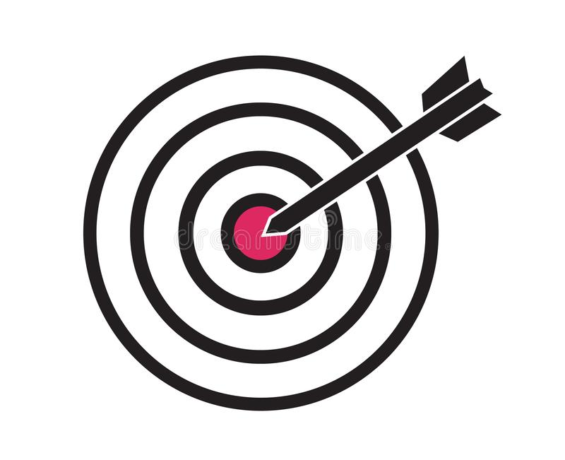 Czerń i czerwony cel z strzałkowatą strzałką celujemy w centrum pojęciu o ilustracji