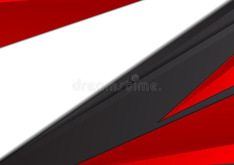 Czerń i czerwony geometryczny abstrakcjonistyczny wektorowy tło z kopii przestrzenią ilustracja wektor