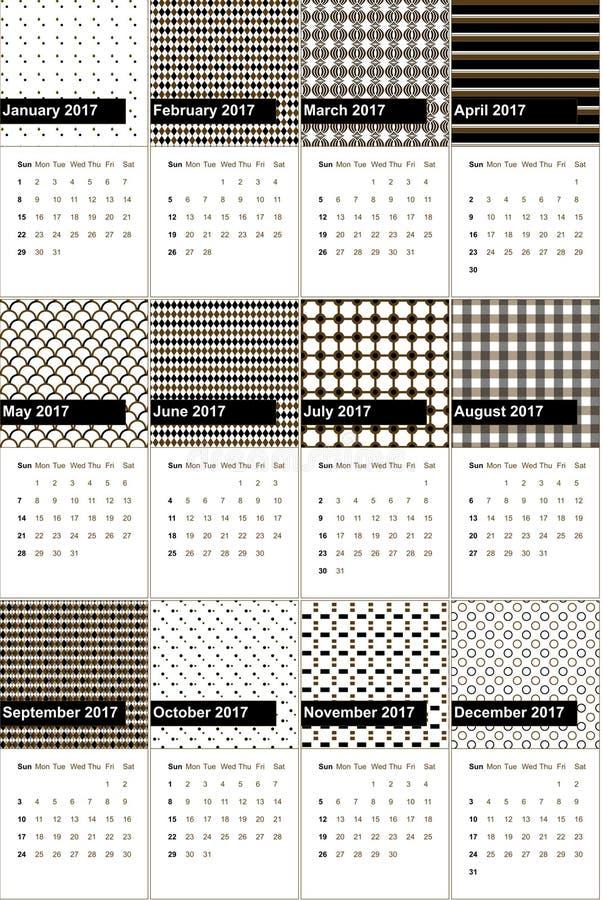 Czerń i jambalaya barwiliśmy geometrycznego wzoru kalendarz 2016 ilustracja wektor