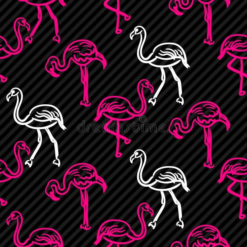 Czerń i menchie paskowaliśmy flaminga ptaka wzór ilustracji
