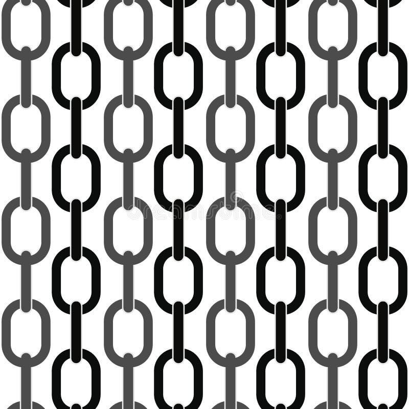 Czerń i metalu łańcuch na białym bezszwowym wektorowym tle ilustracji