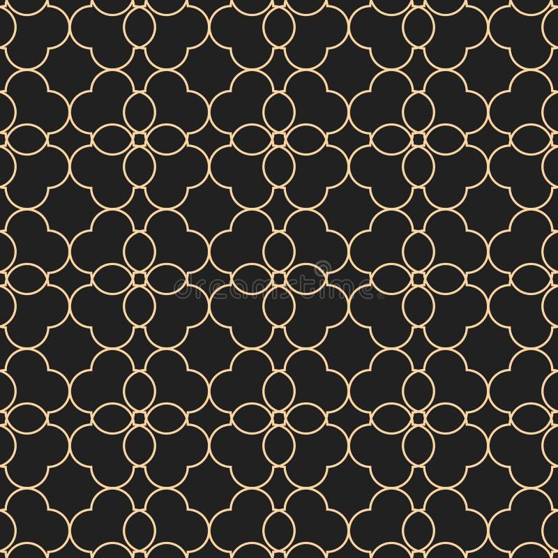 Czerń i złocisty bezszwowy wzór w orientalnym stylu ilustracji