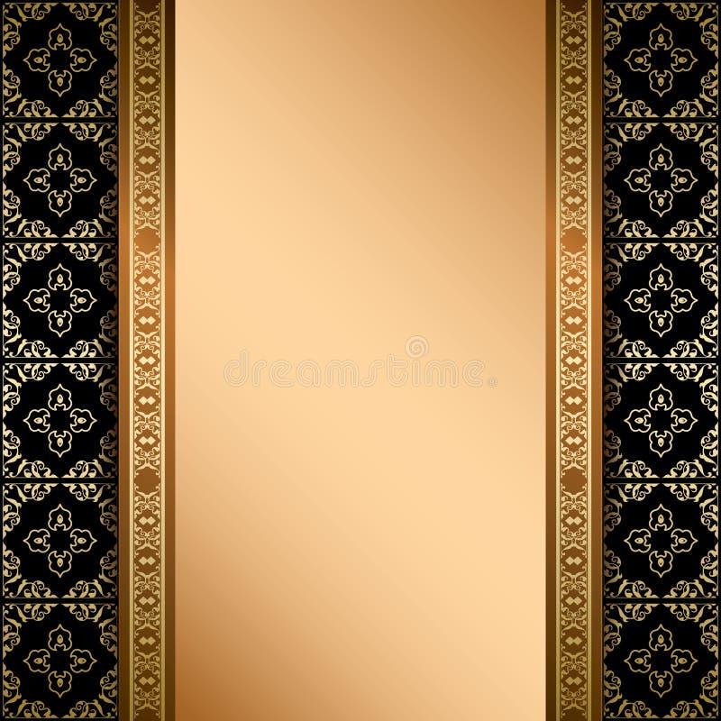 Czerń i złocisty ornament na tle z gradientem ilustracja wektor