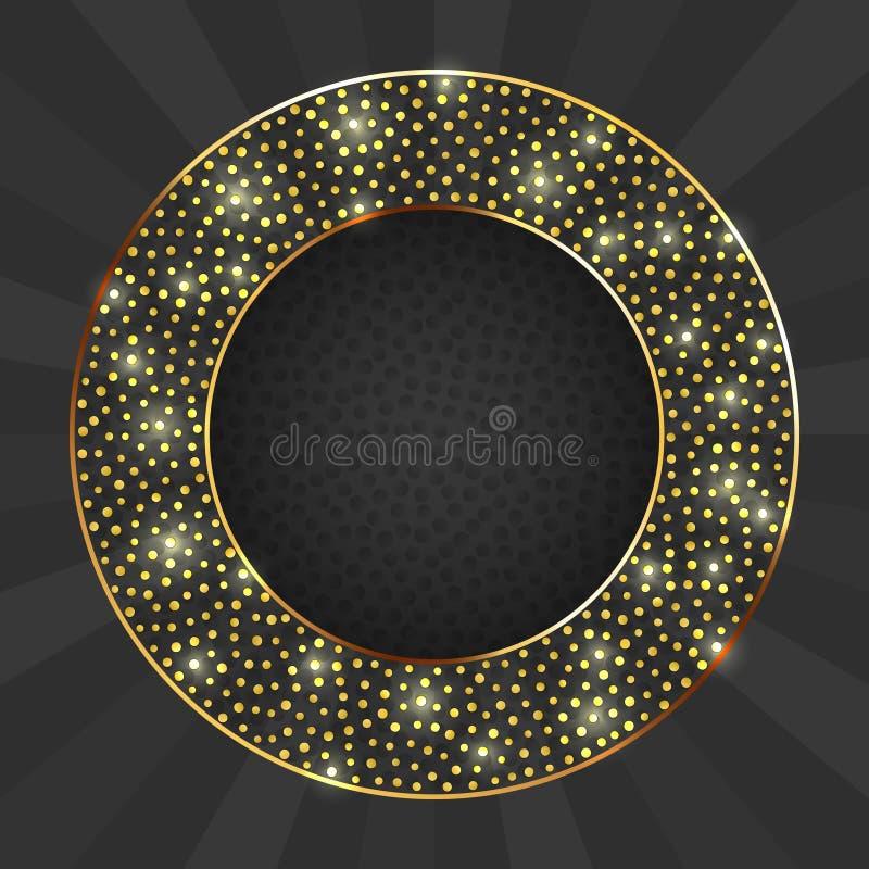 Czerń i złoto karta z złocistą okrąg ramą ilustracji